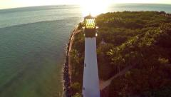 Aerial view of the historic Cape Florida Lighthouse Key Biscayne Florida Clip6 Stock Footage