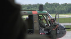 Helicopter Landing at an airbase Stock Footage