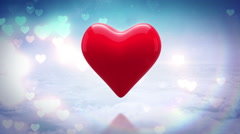 Red heart thumping on glittering background Stock Footage
