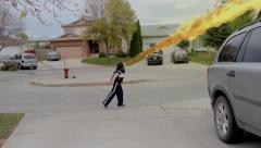 Teenager Spits Fire Stock Footage