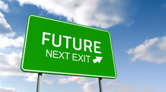 Future and next exit road sign over cloudy sky Stock Footage