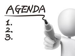 Stock Illustration of agenda word written by 3d man