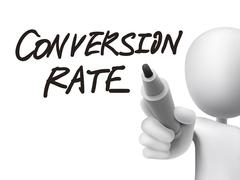 Stock Illustration of conversion rate words written by 3d man