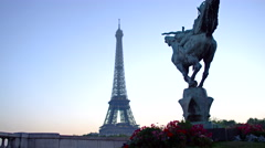 Sunrise France Reborn Statue Eiffel Tower Bir-Hakeim Passy Paris 4K Stock Video - stock footage