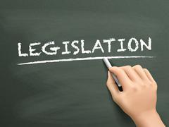 legislation word written by hand - stock illustration