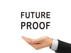 Future proof words holding by realistic hand Stock Illustration