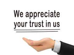 We appreciate your trust in us holding by hand Stock Illustration