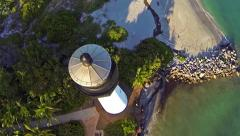 Aerial view of the historic Cape Florida Lighthouse Key Biscayne Florida Clip7 Stock Footage