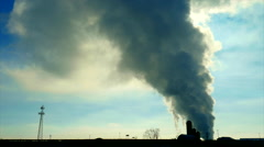 Industrial Contaminates From Smoke Stacks Rises Miles Into the Atmosphere - stock footage