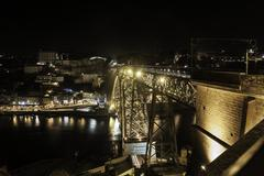 Luiz 1st bridge in Porto - stock photo