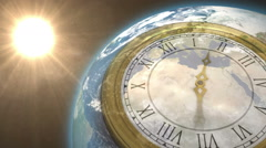 Clock ticking against sun on the earth - stock footage