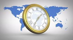 Clock ticking against world map - stock footage