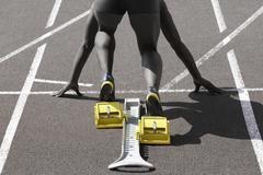 black sprinter start color key - stock photo