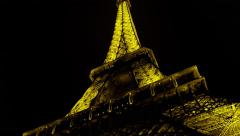 Stock Video Footage of Eiffel Tower Landmark Paris, France Night, Editorial 4K Stock Video Footage