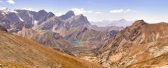 Panorama of the mountains. lake kulikolon. pamir, tajikistan. hdr Stock Photos