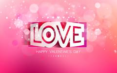 Vector paper inscription love cut on a pink background Stock Illustration