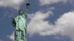 Stock Video Footage of Statue of Liberty with Time Lapse Clouds