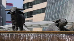 Sculpture of bulls at the square of Hong Kong Stock Exchange Stock Footage