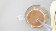Cup of Cappuccino from capsule coffee machine Stock Footage