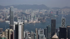 Time Lapse of boats running at Victoria Harbour on a sunny day in Hong Kong Stock Footage