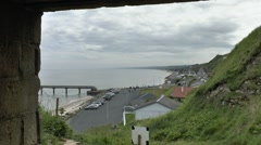 View east from German MG bunker along Omaha Beach, Vierville, Normandy, France. Stock Footage
