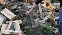 Man chopping wood 2 Stock Footage