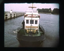 Ship Sails From pier, SD vintage video 8mm Stock Footage