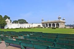 inlaid marble, columns and arches, hall of private audience or diwan i khas a - stock photo