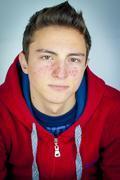 Portrait of teenage boy with acne Stock Photos
