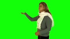 Pretty blonde woman turning with hands outstretched Stock Footage