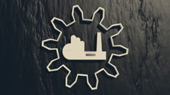gear empty icon rotated around factory pictogram on charcoal backdrop - stock footage