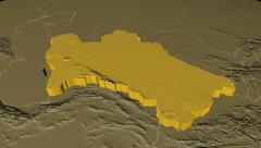 Turkmenistan extruded. Bumps. - stock footage