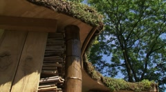 Tilt down bee hotel, an artificial bee nesting wall, insect hotel Stock Footage