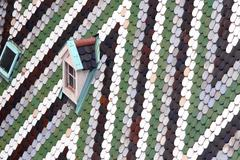 Roof with tiles in majolica and ceramics of the cathedral of st. stephen Stock Photos