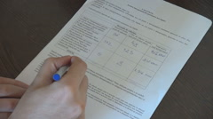 White man hand closeup underline on working papers, male at office work, stress - stock footage