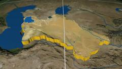 Stock Video Footage of Turkmenistan extruded. Blue Marble. Graticule.