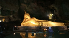 Buddha laying Thailand cave temple Stock Footage