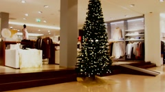 Interior of a large department store at Christmas Stock Footage