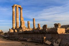 Temple of Hercules in Amman Citadel, Al-Qasr site, Jordan Stock Photos