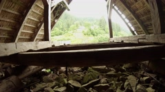 Ruined wooden structure in the attic Stock Footage