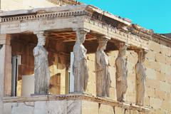 Porch of the caryatids in Erechtheum, Athens - stock photo