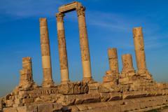 Temple of Hercules in Amman Citadel, Al-Qasr site, Jordan - stock photo