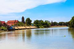 Thai temple at Ayutthaya in Thailand Stock Photos