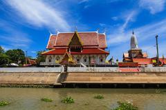 Thai temple at Ayutthaya in Thailand - stock photo