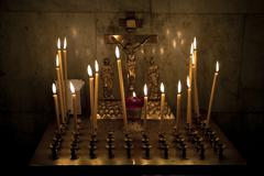 candles on calvary in church russian - stock photo