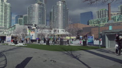 Outdoor skating rink Stock Footage