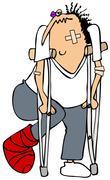 Banged up man on crutches - stock illustration