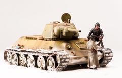 Halt of soviet t 34 tank crew - stock photo