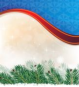 spruce branches on a sparkling background. christmas card - stock illustration