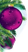 christmas ornaments on a blue sparkling background - stock illustration